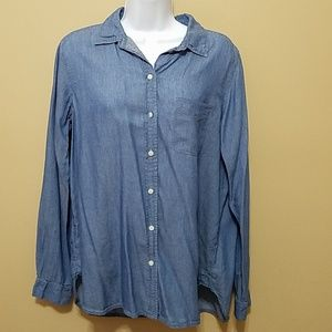 LOFT 'The Softened Shirt' chambray button front M